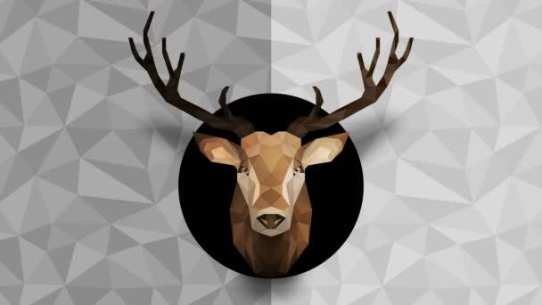 Mnohoúhelníkové jelení pozadí. Zvířecí hlava. Animace nízkopolygonové smyčky. Geometrická divočina. Polygonální zvířecí portrét.