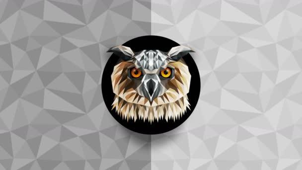 Mnohoúhelníková sova pozadí. Zvířecí hlava. Animace nízkopolygonové smyčky. Geometrická divočina. Polygonální zvířecí portrét.