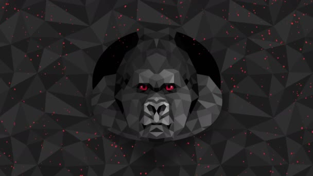 Mnohoúhelníkové pozadí Gorily. Zvířecí hlava. Animace nízkopolygonové smyčky. Geometrická divočina. Polygonální zvířecí portrét.