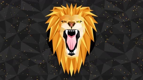Mnohoúhelníkové lví pozadí. Zvířecí hlava. Animace nízkopolygonové smyčky. Geometrická divočina. Polygonální zvířecí portrét.