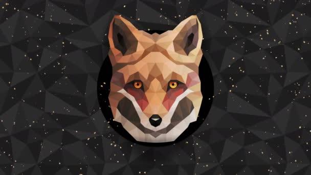 Poligonális Fox háttér. Állatfej. Alacsony poligon hurok animáció. Geometrikus élővilág. Poligonális állatportré.