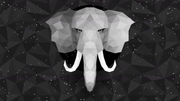 Mnohoúhelníkové sloní pozadí. Zvířecí hlava. Animace nízkopolygonové smyčky. Geometrická divočina. Polygonální zvířecí portrét.