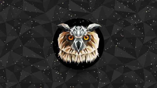 Sokszögű bagoly háttér. Állatfej. Alacsony poligon hurok animáció. Geometrikus élővilág. Poligonális állatportré.