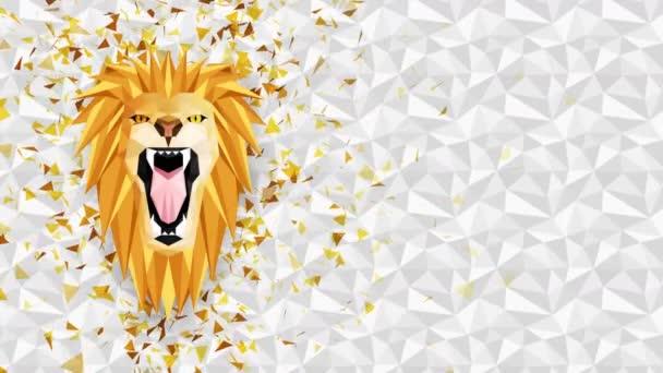 Poligonális oroszlán háttér. Állatfej. Alacsony poligon hurok animáció. Geometrikus élővilág. Poligonális állatportré.