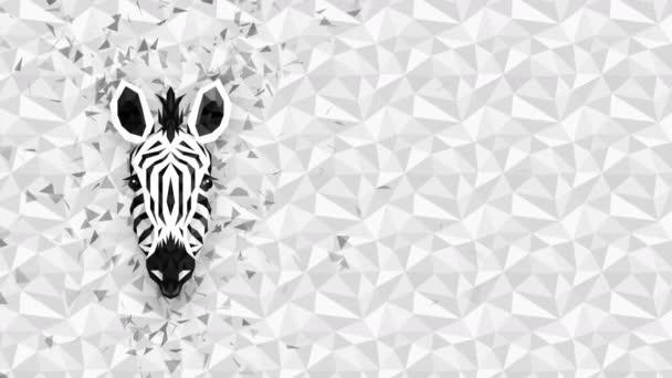 Poligonális zebra háttér. Állatfej. Alacsony poligon hurok animáció. Geometrikus élővilág. Poligonális állatportré.