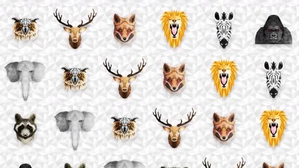 Különböző állatok gyűjteménye. Állatkert szimbólum. Alacsony poligon ikonok. Oroszlán, Gorilla, Zebra, Mosómedve, Róka, Elefánt, Szarvas, Bagoly. Geometrikus hurok animációs készlet.