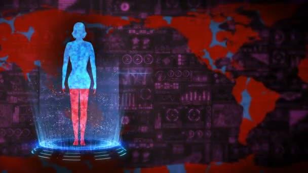 Nő és Föld. Orvosi hologram hurok animáció. Emberi virtuális test. A Föld pirosra fog festeni és jobban lesz. Fertőzés járvány. A járványnak vége. Betegség és egészség.