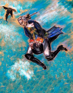 Jerome Baron von Munchausen flies at the core. Illustration for the book Fetch Baron Munchausen