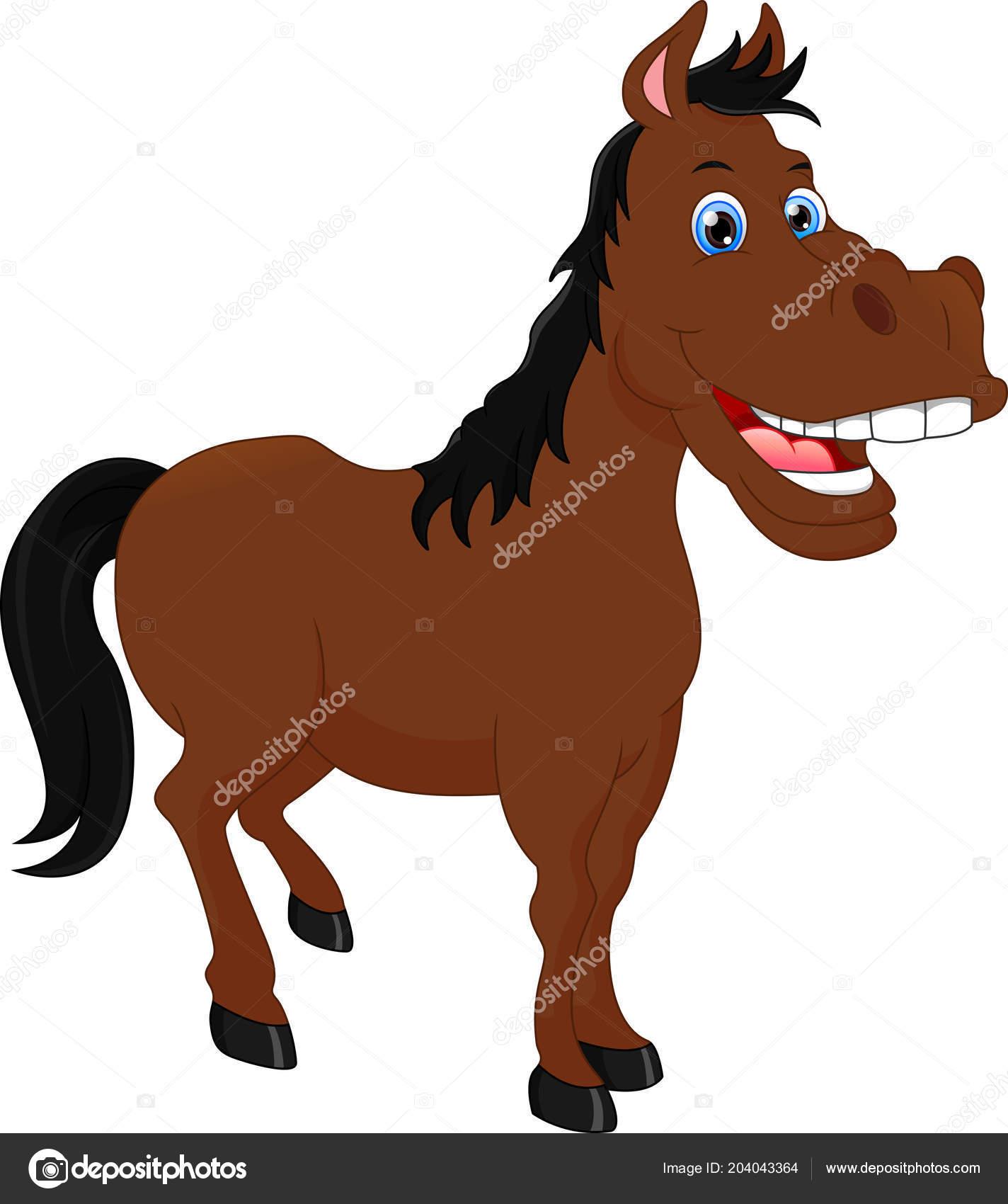 Cute Horse Cartoon Vector Illustration Stock Vector C Lawangdesign 204043364