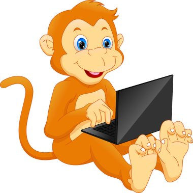 cute monkey using laptop cartoon