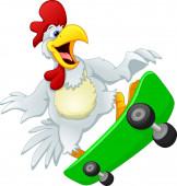 Photo cute chicken playing skate board