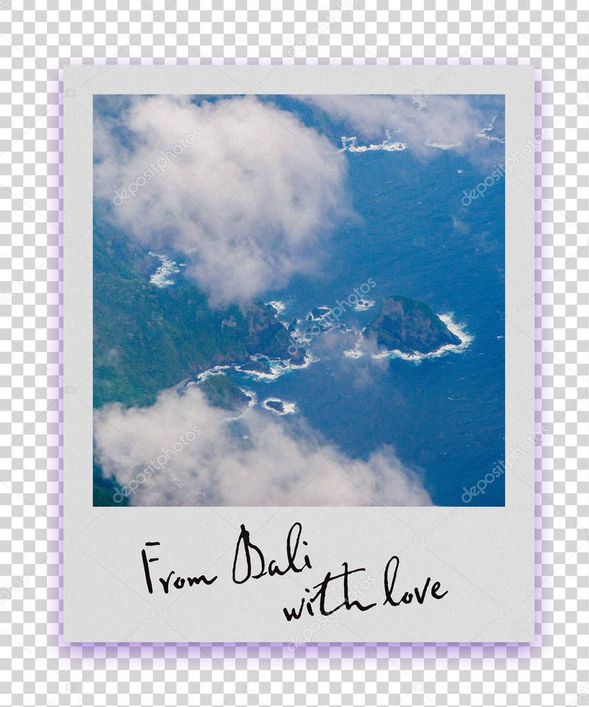 Postcard collection in polaroid photo style from Bali (Indonesia). Plain view and