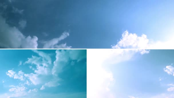 Koláž z videí s krásnou oblohou s pohyblivými mraky