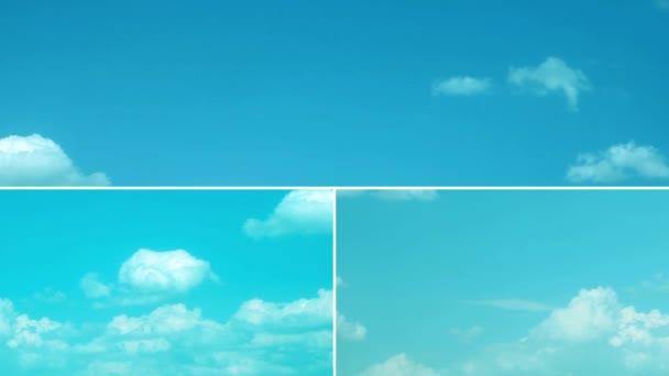 Koláž z videí s oblohou a pohybujícími se mraky