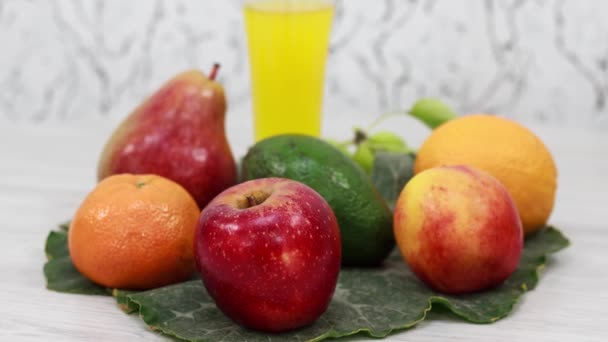 close up view of fresh ripe fruits on table