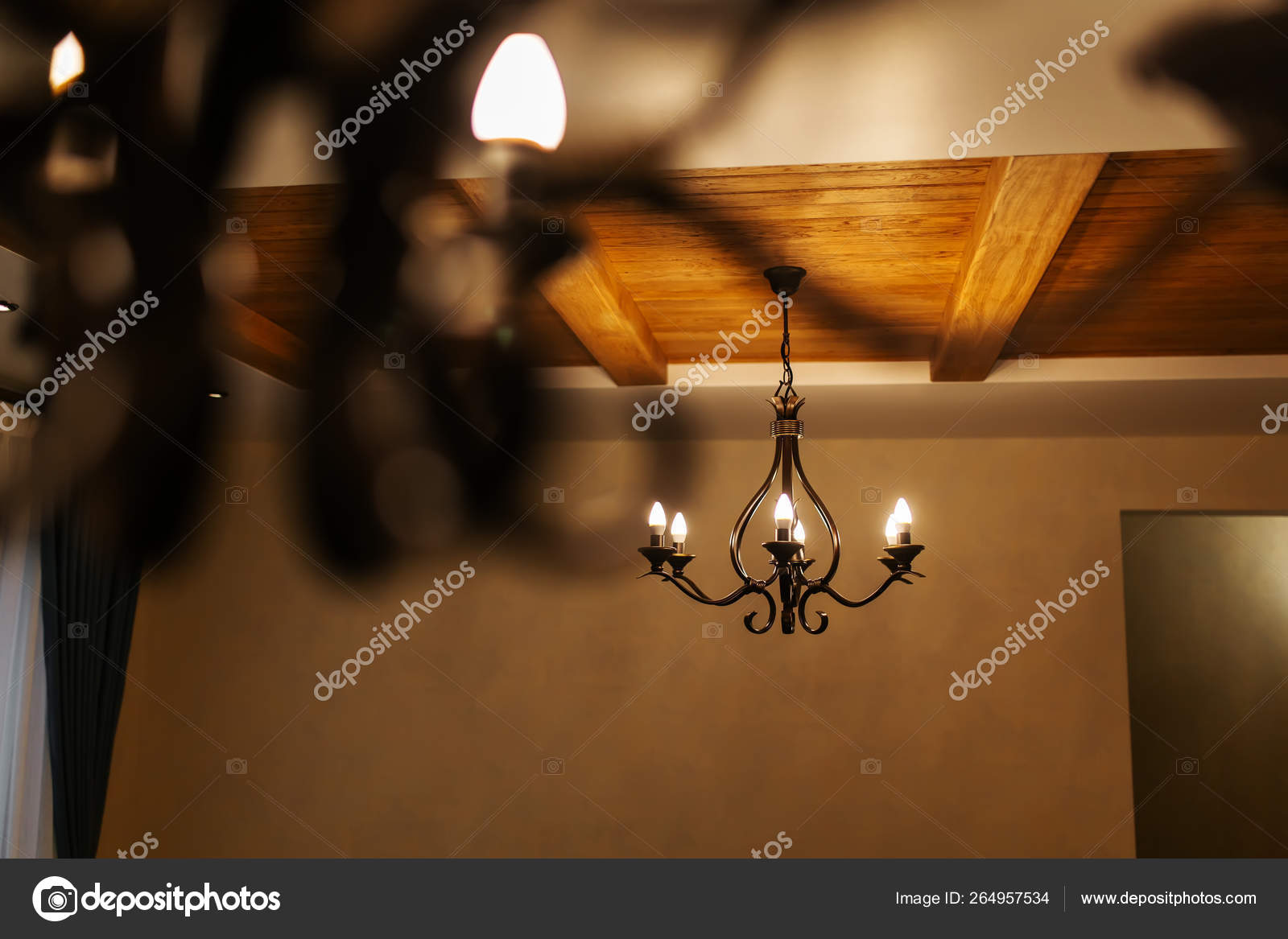Contemporary Chandelier Is A Branched Ornamental Light Fixture Designed To Be Mounted On Ceilings Or Walls Vintage Chandelier Home Interior Stock Photo Image By C Andriymedvediuk 264957534