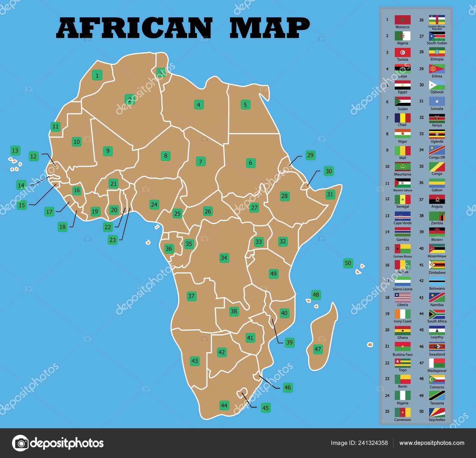 African Map African Countries Flags Counties Names Vector ...