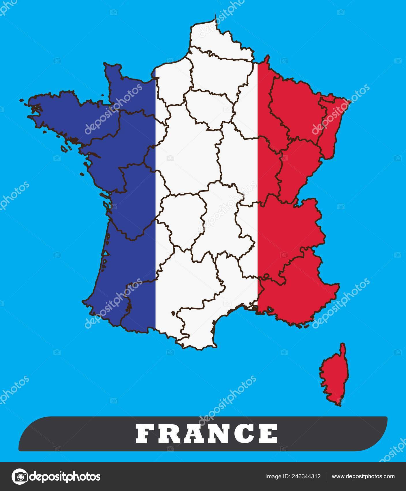 Map Of France Drawing.France Map France Flag France Map France Flag Use Background Stock