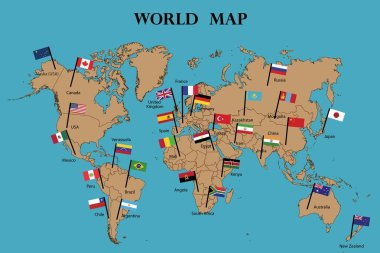 Map of world and Flags of World countries drawing by illustration.Countries names and flags marked on map