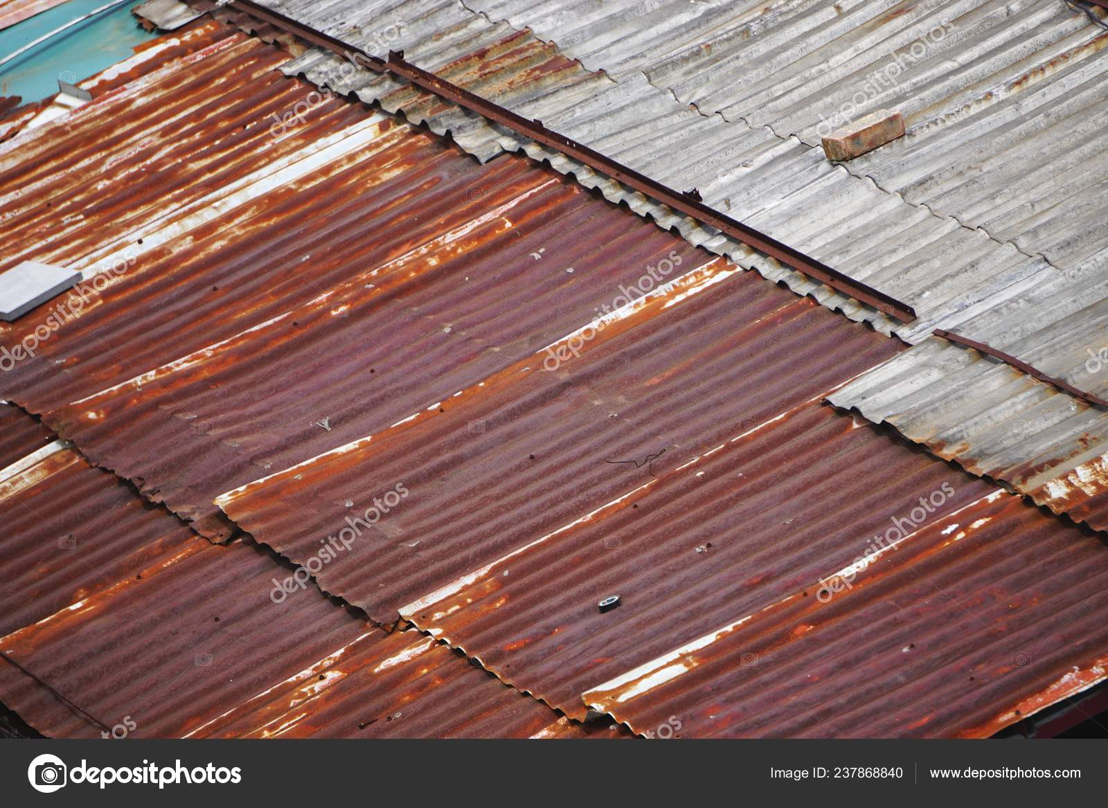Rusty Corrugated Metal Roof Overlapping Diagonal Panels Parallel Lines Abstract Stock Photo C Johncumbow 237868840