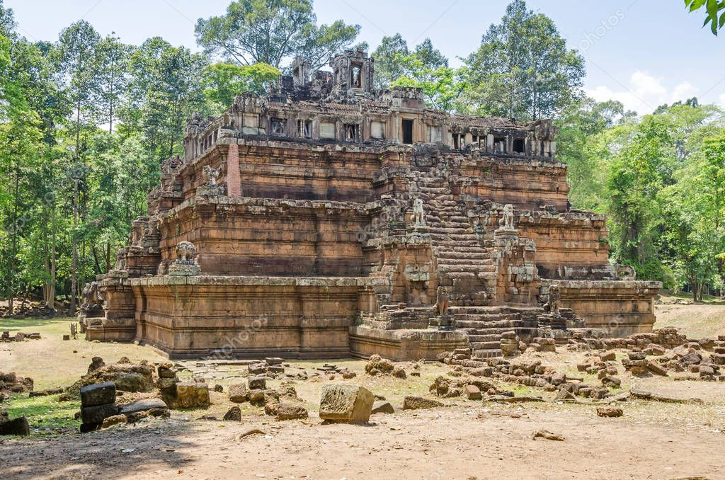 Phimeanakas or Vimeanakas, means celestial temple, a Hindu temple in the shape of a three tier pyramid located inside the walled enclosure of the Royal Palace of Angkor Thom at Angkor, Cambodia.
