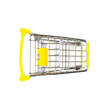 Yellow shopping cart on a white background, isolate, top view, copy space, place for text.