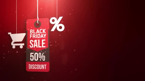 black friday sign hanging on string with shopping cart and percent icon