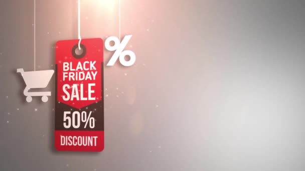 Černý pátek znamení visí na řetězec, nákupní košík a procenta ikonu