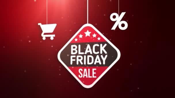 Black Friday Schild hängt an Schnur mit Warenkorb und Prozent-Symbol
