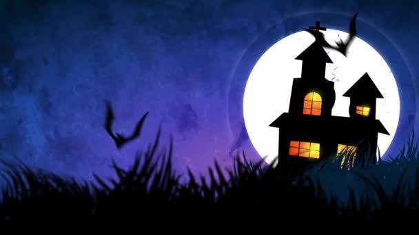 Halloween háttér-animáció és a kísérteties sütőtök, a Hold és a denevérek és a kísértetjárta kastély.