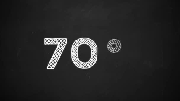 Handzeichnung eines 70-Prozent-Symbols mit weißer Kreide auf der Tafel