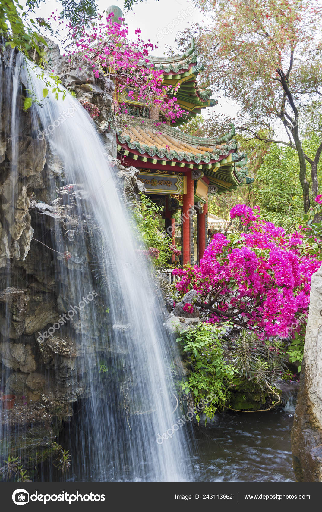 pavilion waterfall oriental garden hong kong china – stock