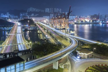 Cargo Port and Highway in Hong Kong city