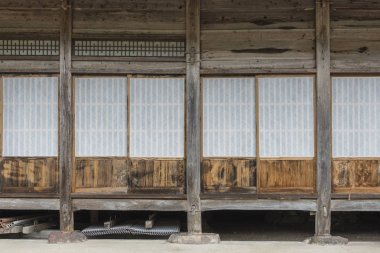 Traditional Japanese paper door of farm house in Historic Village of Shirakawa-go in Japan