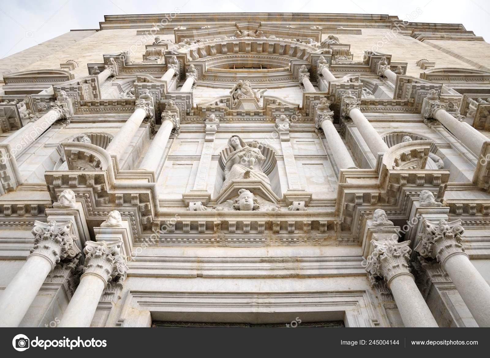 Fachada Principal Catedral Girona Iglesia Catolica Romana Lugar Tiro