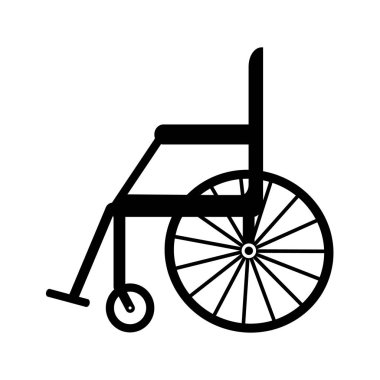 Black silhouette of empty wheelchair in the hospital. Transport for handicapped in case of illness, or disability, medical support equipment. Vector icon illustration, isolated, white background