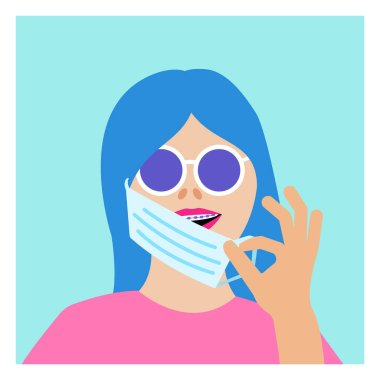 Girl with braces puts on protective medical mask. Young woman smiling. Brackets on teeth for correcting dental health problems. Dentistry during quarantine. Vector bright colors flat illustration
