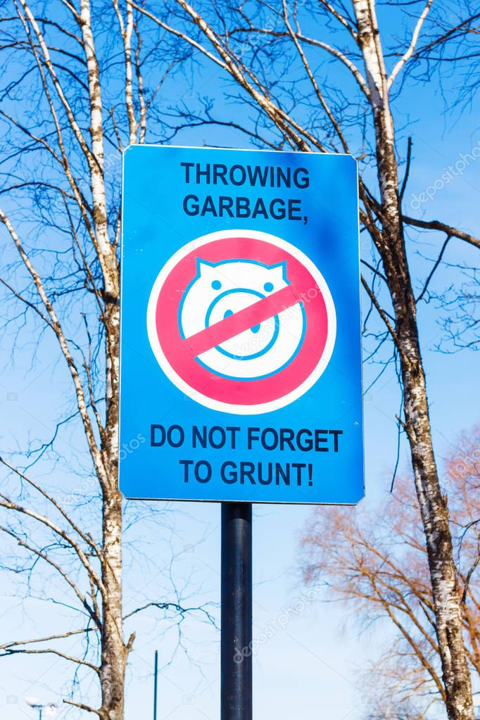 No Garbage Sign with a picture of pig