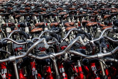 Many bicycles parked on Ameland Island in Summer 2019