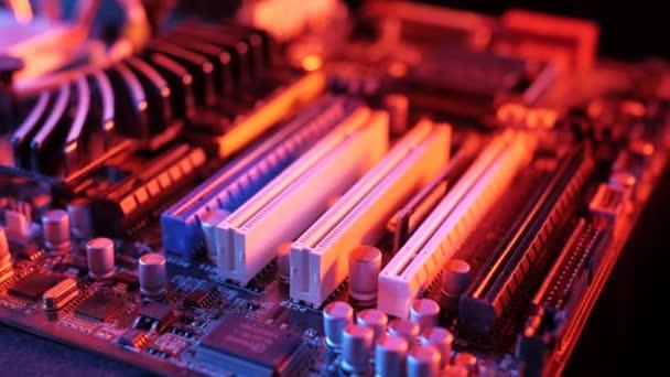 Makro nézet PCI-E rések az alaplapon, csúszkálás