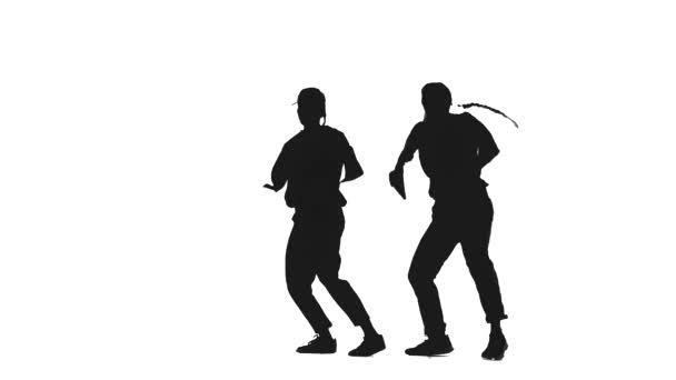 black silhouette on a white background, a duet of girls dancing hiphop, street dancing, isolated