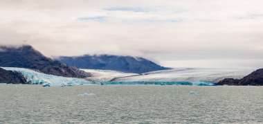 Panoramic of the Upsala Glacier in Argentina. Lake Argentino in Glaciers National Park, Patagonia. South Ice field in the Andes mountain range