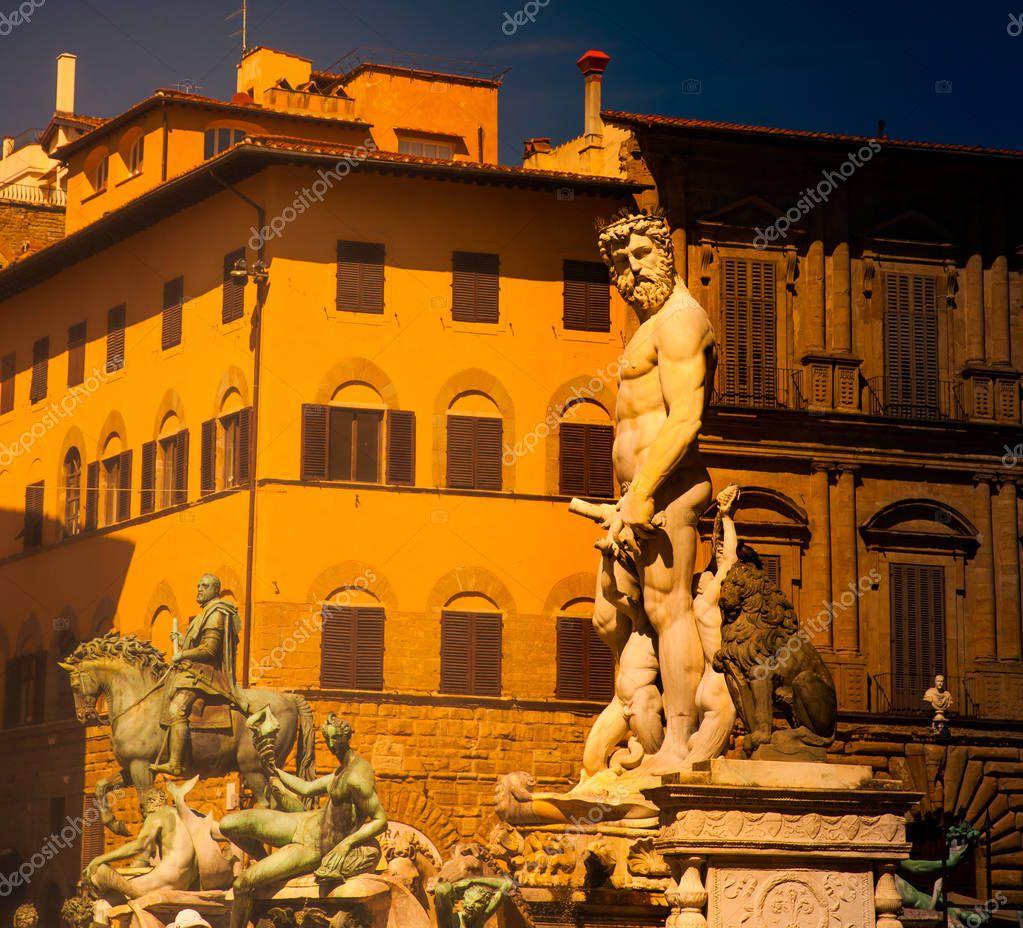 Sculpture of Neptune of Fountain Neptune in Piazza della Signoria in Florence