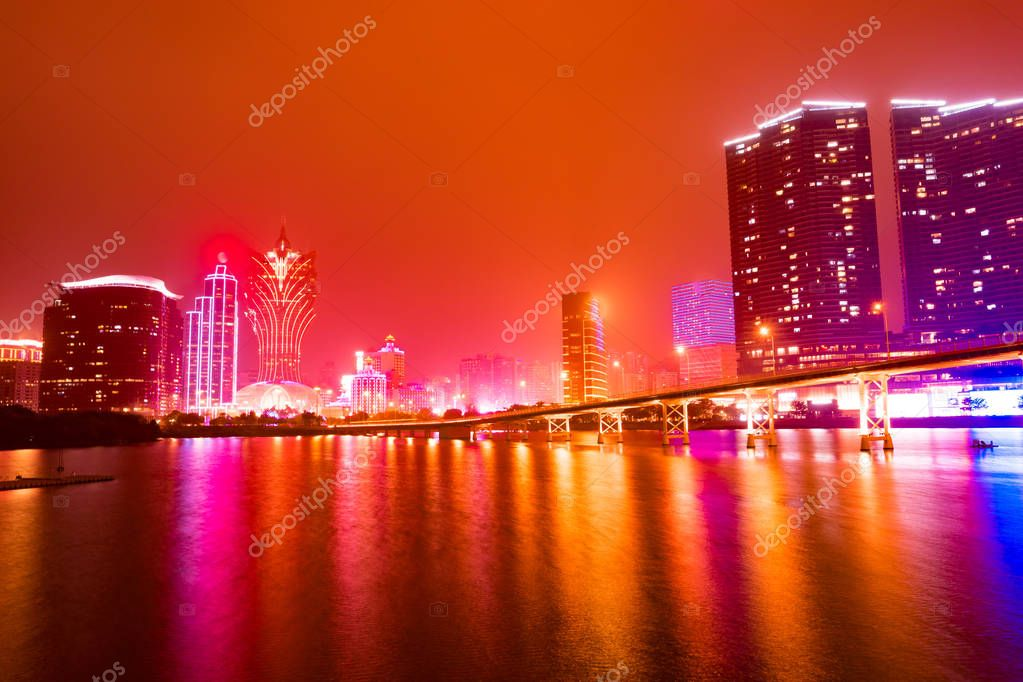 Panorama viewpoint urban landscape twilight night traffic in Macau