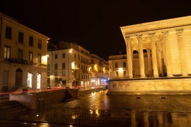Maison Carree, temple in night lights, Nimes, France