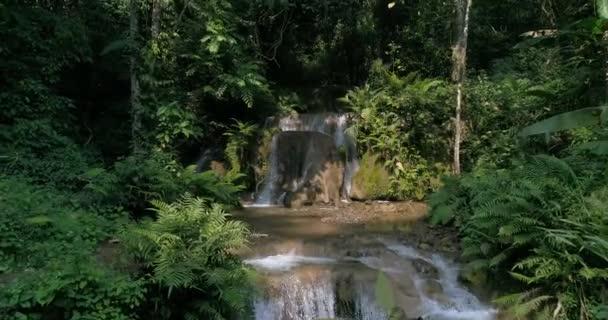 Vodopády v horách v hojné lesy. Proud tekoucí v lese.