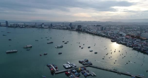 Aerial view Flying Pattaya beach Thailand