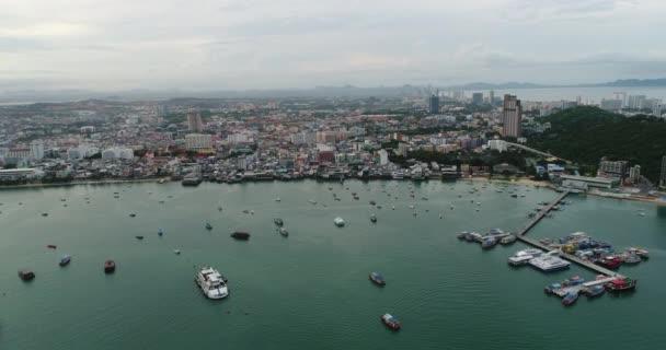 Aerial view Flying Pattaya beach Thailand