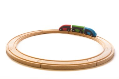 Wooden colorful toys for children with train and railway road  i, isolated on the white background.