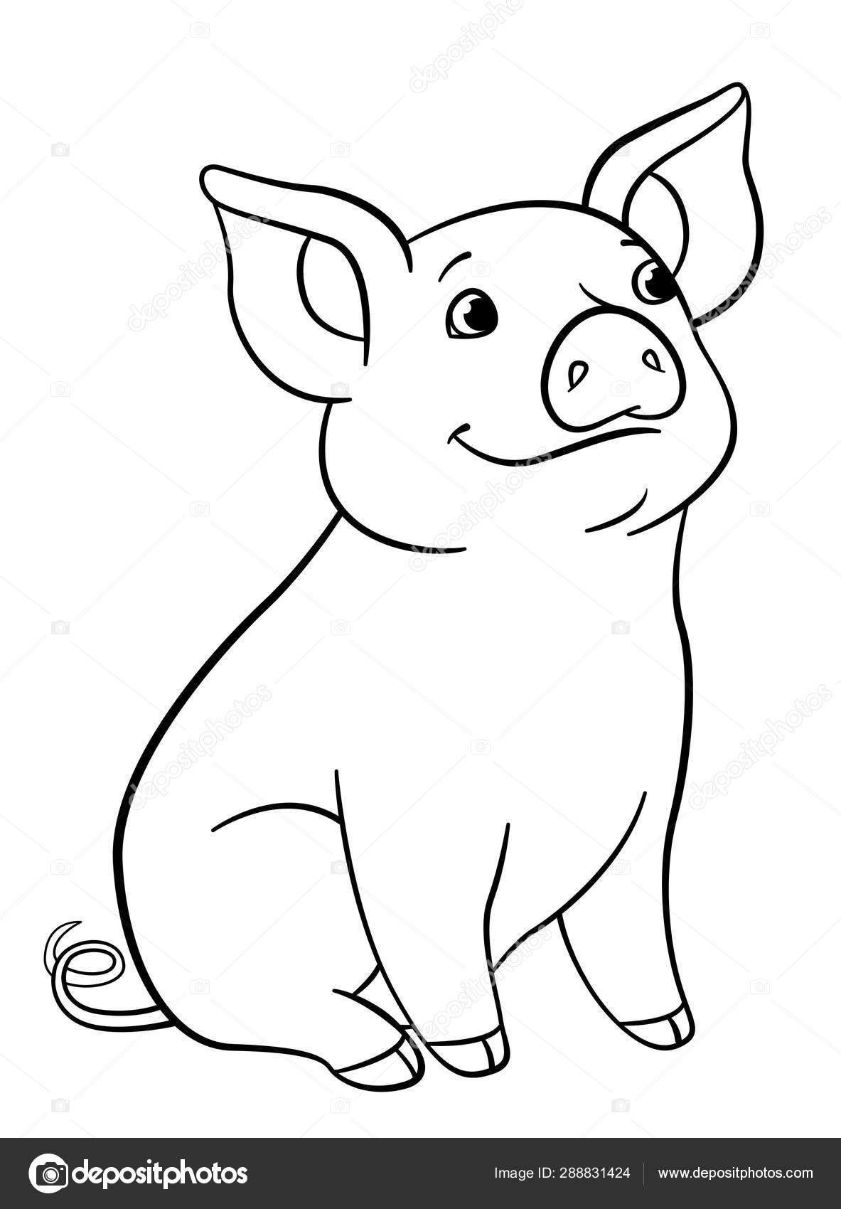 Pig Mother and Baby Pigs coloring page | Free Printable Coloring Pages | 1700x1183